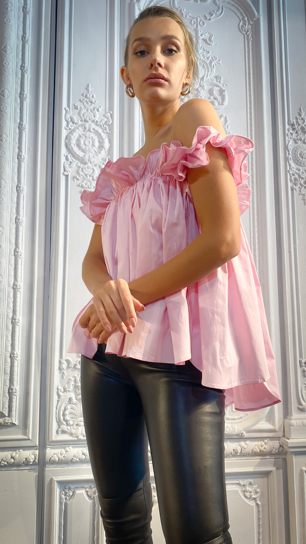 Pink Vertical Paneled Off-Shoulder Top