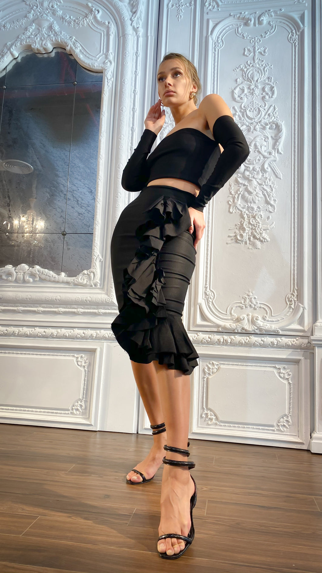 Black Ruffle Asymmetrical Skirt