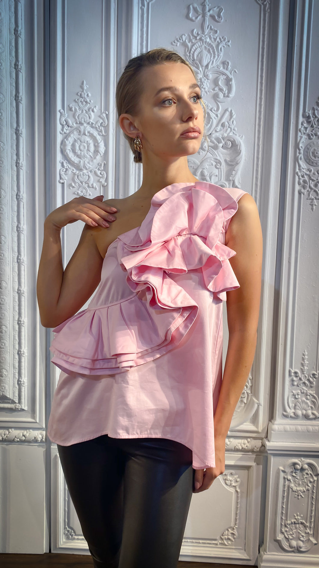 Pink Poplin One Sleeve Bow Blouse
