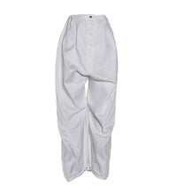 Load image into Gallery viewer, White Cotton drop-crotch Pants with Toggle Hem