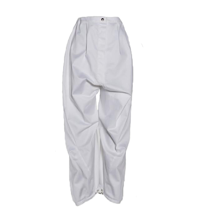 White Cotton drop-crotch Pants with Toggle Hem