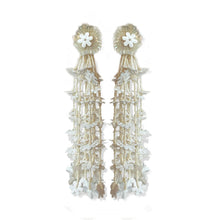 Load image into Gallery viewer, White Floral Cascade Earrings