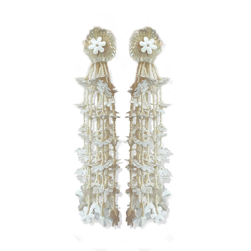 White Floral Cascade Earrings