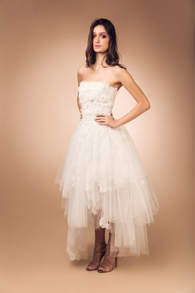 White Lace with Tulle Overlay Dress