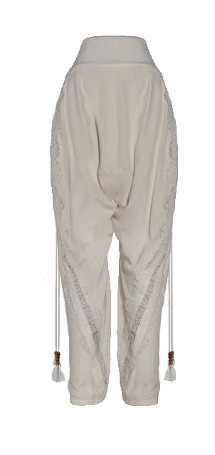 White Crepe Pant with Lace Seam Detail
