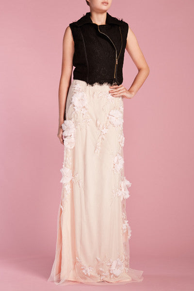 Black lace sleeveless motorbike jacket and Blush Pink 3D Floral long skirt