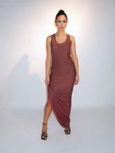Load image into Gallery viewer, Deep Cocoa Modal Jersey Draped Skirt