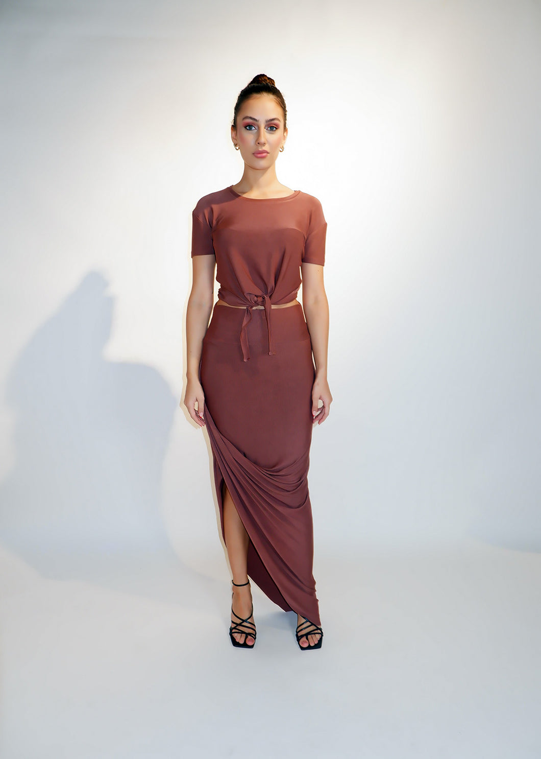 Deep Cocoa Modal Jersey Draped Skirt