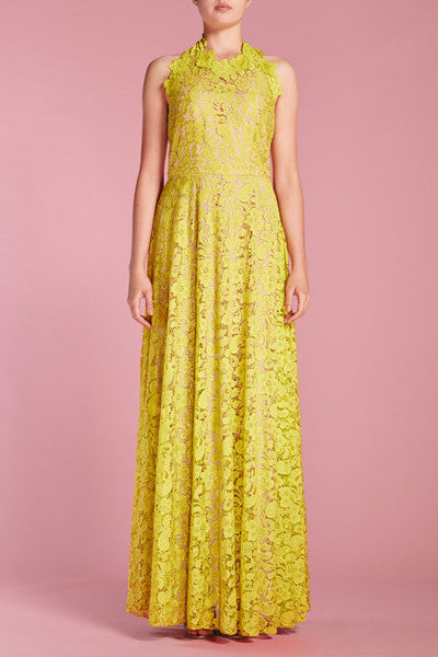 Neon green lace maxi
