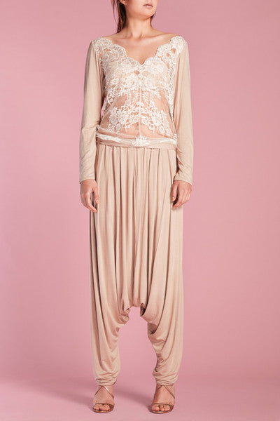 Nude jersey w/white lace sweater