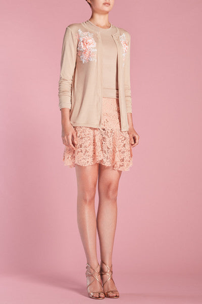 Nude pink cardigan w/white lace appliqué