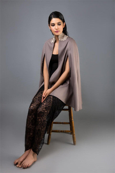Taupe Denim Cape with Gold Collar