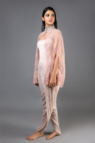 Pink Lace Cape with Silver Collar