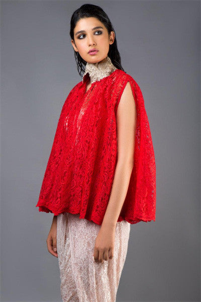 Red Lace Cape with Gold Collar