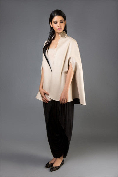 Nude Silk Gazar Cape with Gold Collar