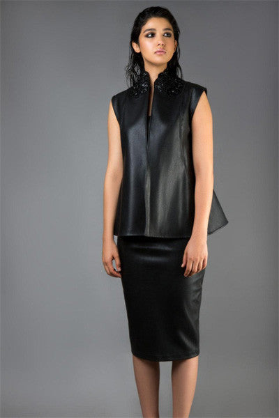 Black Leather Waistcoat with Embroidered Collar