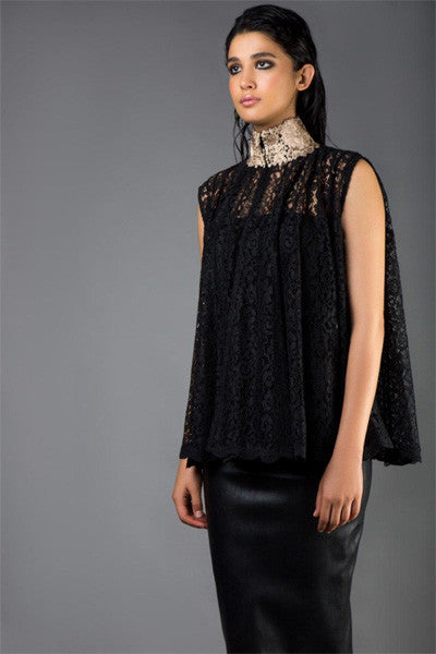 Black Lace Panel Cape with Gold Collar