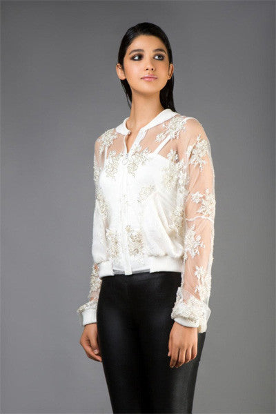 Ivory Lace Beaded Bomber Jacket