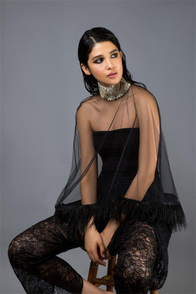 Black Tulle Cape with Antique Collar & Feather Trim