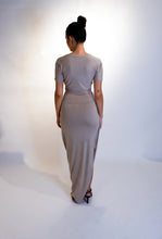 Load image into Gallery viewer, Taupe High Waist Modal Soft Jersey Skirt with Toggle