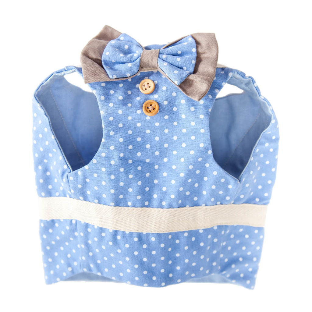 Baby Blue Polka Bow Harness