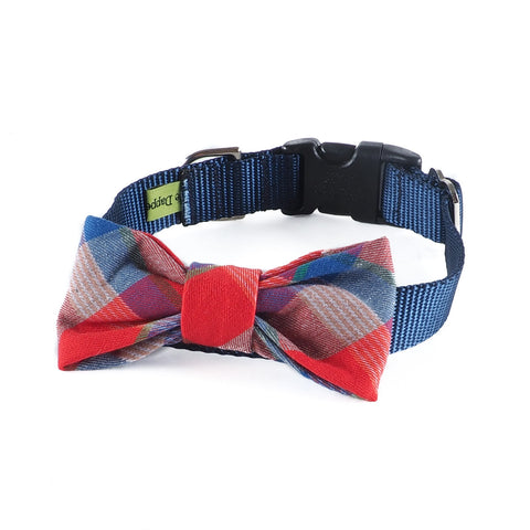 Red Tartan Flannel Bow-tie Collar