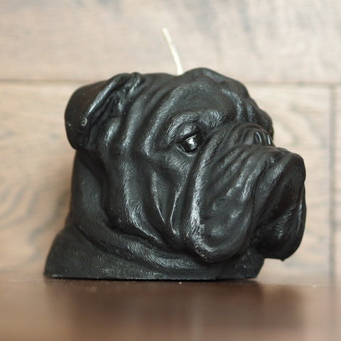 Black English Bulldog Candle
