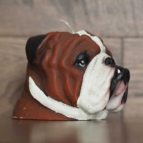 Hand Painted English Bulldog Candle