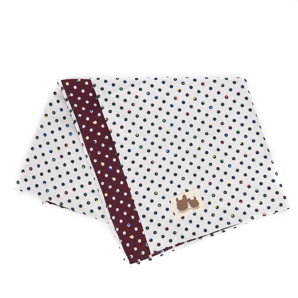 White & Burgundy Polka Reversible Scarf