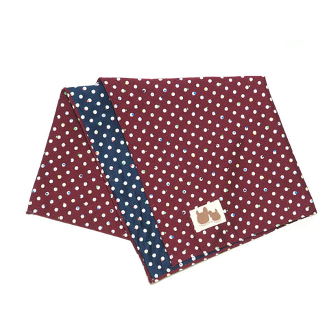 Burgundy & Navy Multicolour Dotted Reversible Scarf