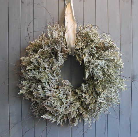Dried Limonium wreath With Twigs