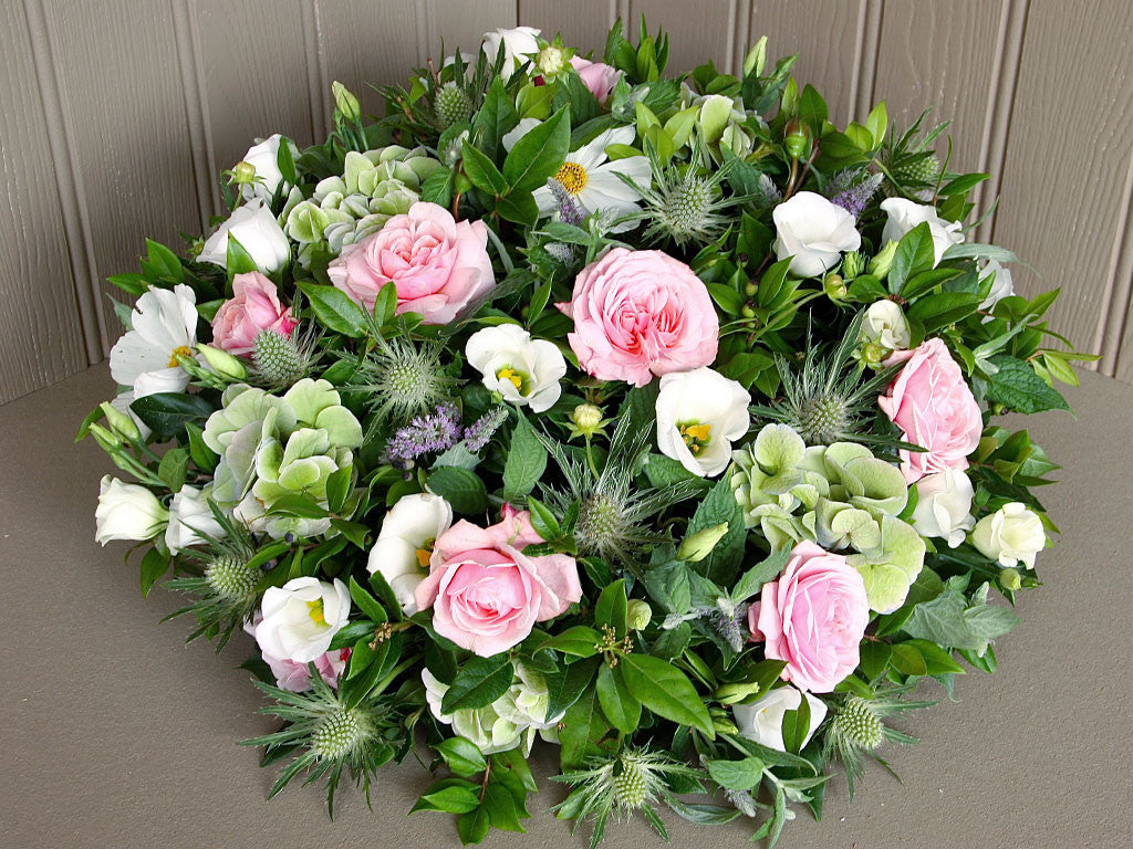 Funeral Pastel Posy Pad Of Flowers Wiltshire Dorset Local Delivery