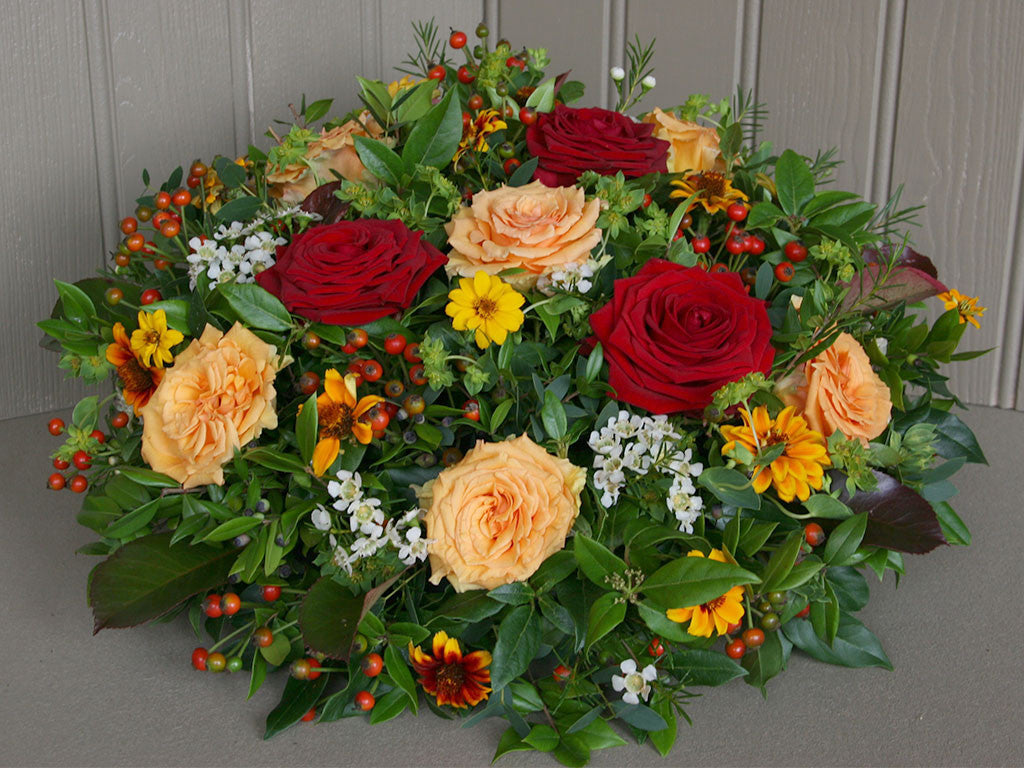 Funeral Vibrant Posy Pad Of Flowers Wiltshire Dorset Local Delivery