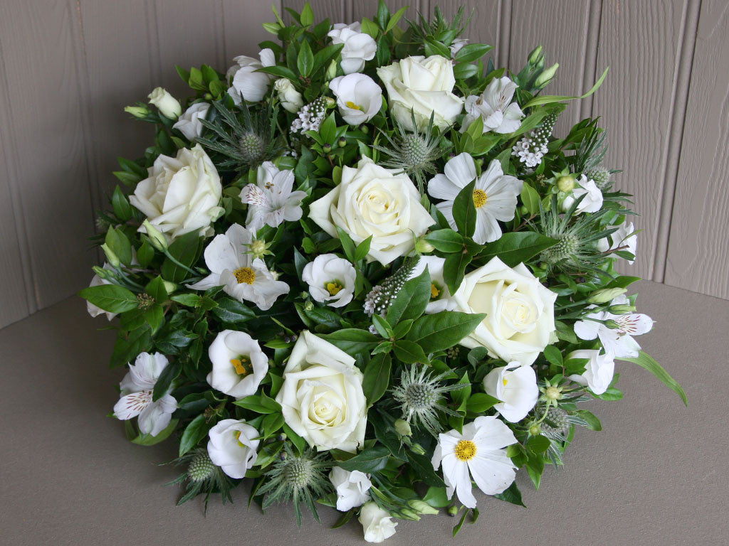 Funeral Posy Pad Of Flowers In White Wiltshire Dorset Local