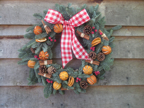 Christmas wreath, traditional blue pine.