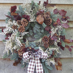 christmas door wreath pine, limonium and beech.