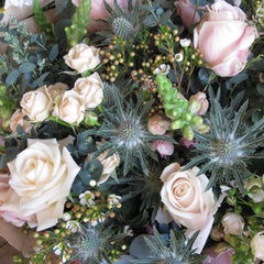 Rose and thistle bouquet.