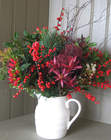 Foliage and berry bouquet in Burleigh jug