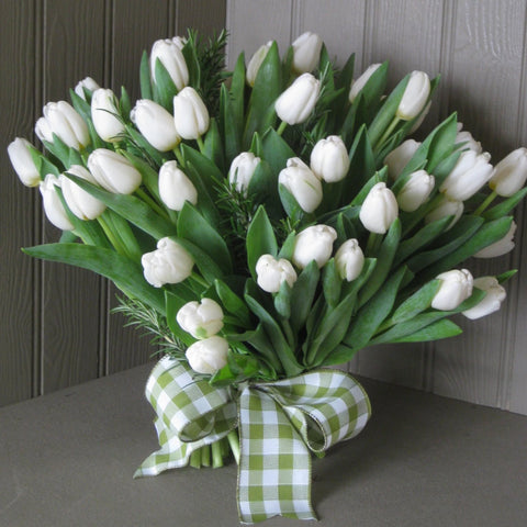 Tulip and foliage bouquet in white