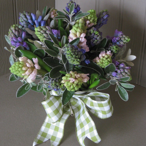 Mixed Hyacinth and foliage posy.