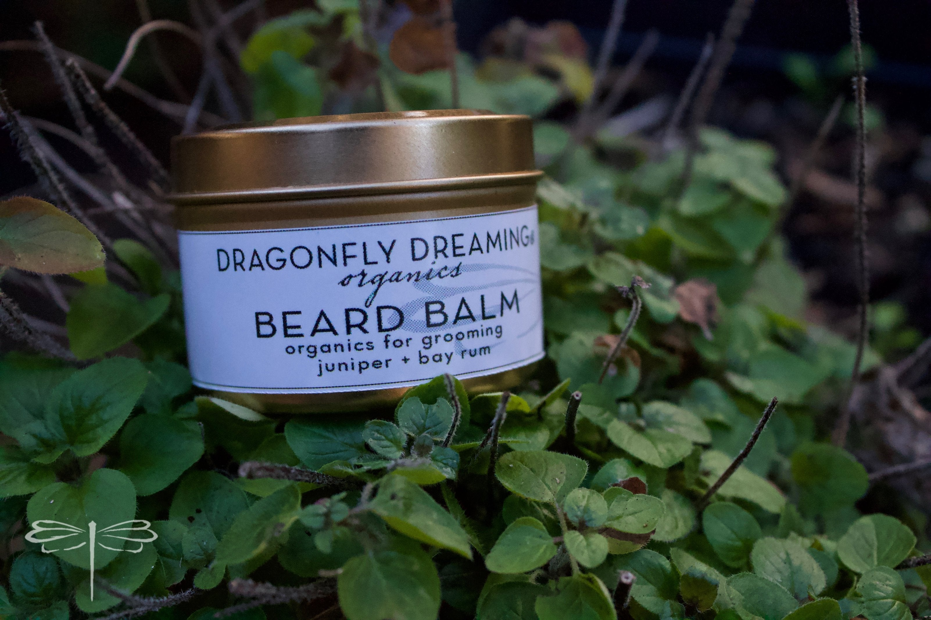 Dragonfly Dreaming® Juniper + Bay Rum Scented Beard Balm to calm and balm irritated skin