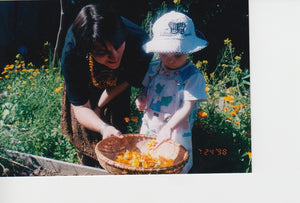 Beth and Kate Lischeron in calendula garden 1998