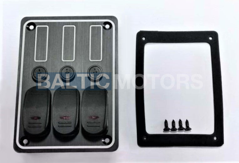 Aluminum switch panel 133x95mm; 12V / 15A Glass fuses