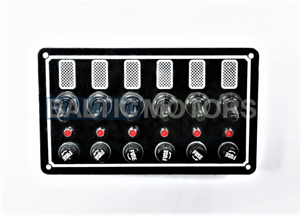 Aluminum switch panel 170x100mm; 12V / 5A Glass fuses