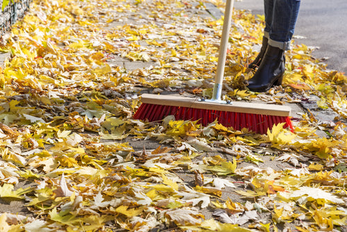 Seasonal Challenges for Industrial Cleaning sweeping leaves