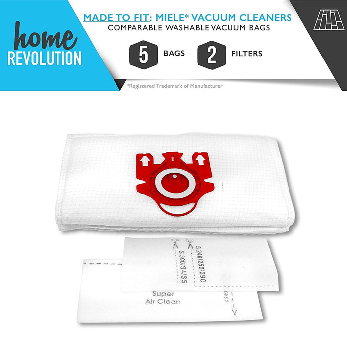 Miele FJM Airclean Part # 780510000010 for Miele Vacuum Cleaner Series, Comparable 5 Washable Vacuum Bags and 2 Filters. A Home Revolution Brand Quality Aftermarket Replacement
