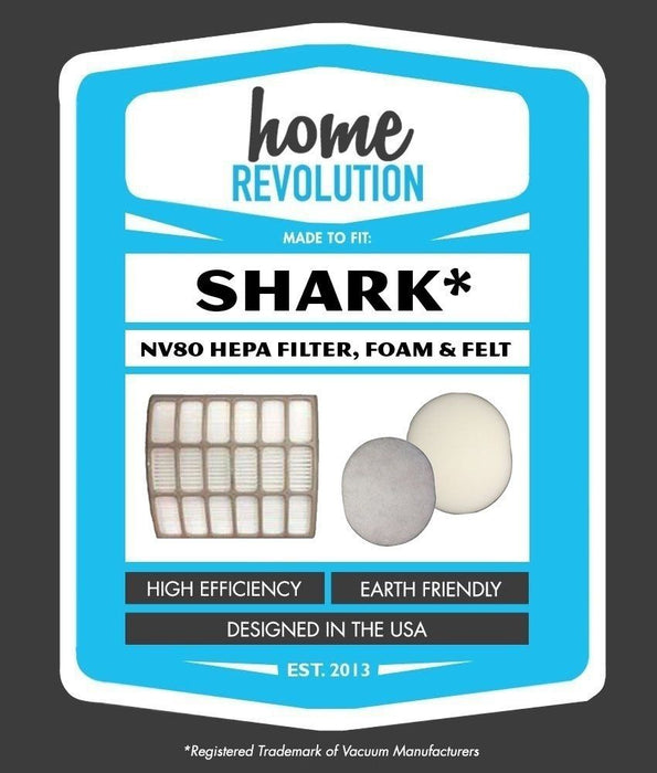 Shark Part # XHF80 and XFF80 for Shark NV80 Models,Comparable HEPA Style Filter, Foam & Felt Filter. A Home Revolution Brand Quality Aftermarket Replacement