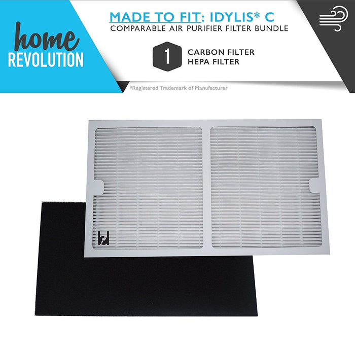Idylis Part # IAF-H-100C for Idylis Air Purifiers IAP-10-200 and IAP-10-280, Comparable 1 HEPA Filter Plus 1 Pack Carbon Filter. A Home Revolution Brand Quality Aftermarket Replacement