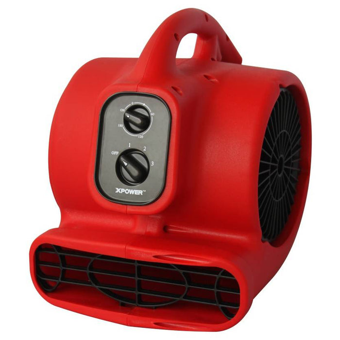 XPower P-200AT 1/8 HP 3 Speeds Mini Air Mover with Daisy Chain & 3- Hour Timer (PP)