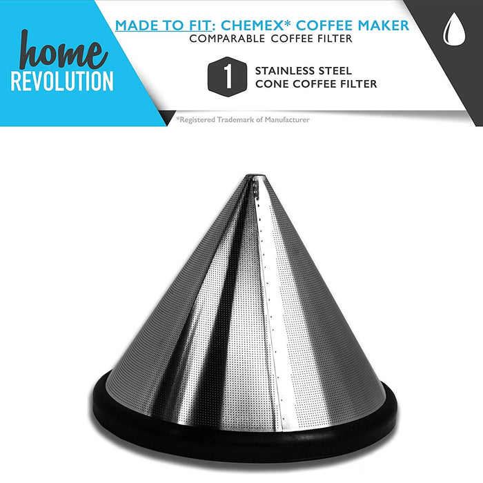 Chemex Part # FS-100 for Chemex 6, 8 & 10 Cup Coffee Makers, Hario V60 02 & 03 Drippers, Bodum 8 Cup Brewer, Comparable Stainless Cone Filter. A Home Revolution Brand Quality Aftermarket Replacement